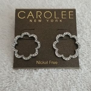 New Carolee Pave Scalloped Hoop Earrings